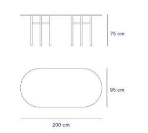 medidas mesa junco ovalada